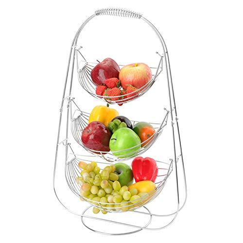 DRROT Canasta De Frutas Stand- Tazones de Fruta de Gran Capacidad de 3