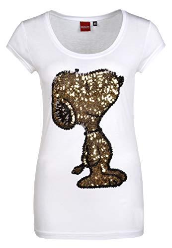 Sublevel Damen T-Shirt mit Snoopy aus Pailletten Comic Shirt kurz mit Rundhals Ausschnitt und Logo Print White S