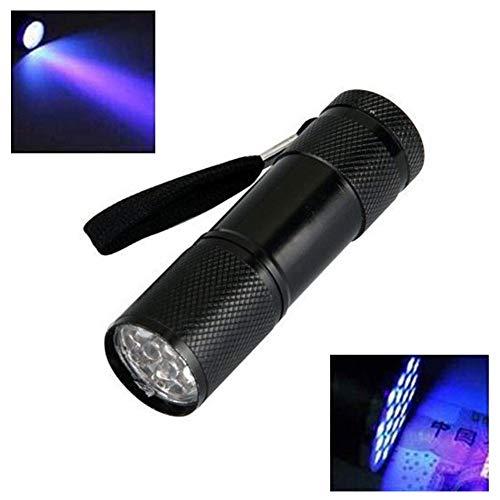 Minilinterna de 9 LED UV, ultravioleta, luz negra, lámpara de mano, detector para comprobar notas, tintas, mascotas, orina de perros, gatos y otros
