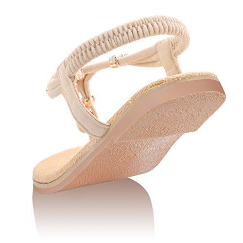 ZOEREA Damen Sandalen Schuhe Knöchelriemen Roman Geflochtene T-Strap Gladiator Sandalen Flats Thong Sandalen Sommer Schuhe Strand Flip Flop Hausschuhe - 6