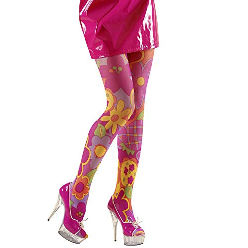 Strumpfhose violett fuxia 40 DEN unisex Hippie Flower 70er 80er - Hippie Kostüm Muster