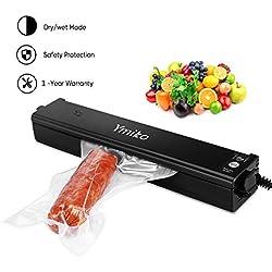Ymiko Machine sous Vide, Appareils de Mise sous Vide Système Automatique d'Emballage Alimentaire Scellant à Vide pour Conserver Les Aliments Viandes, Légumes, Fruits (20 Sachets Inclus)