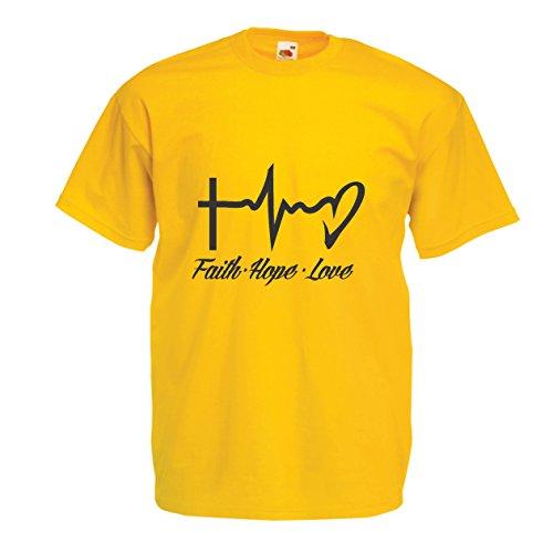 hirt Glaube - Hoffnung - Liebe - 1. Korinther 13:13, Christliche Zitate und Sprichwörter, Religiöse Sprüche (X-Large Gelb Mehrfarben) (Kirche Sprüche Für Halloween)