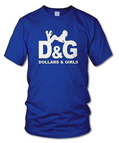 shirtloge - DOLLARS & GIRLS - FUN T-Shirt - KULT - in verschiedenen Farben - Größe S - XXL Royal (Weiß)