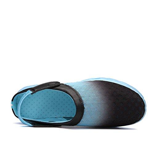 MOOKEY Sandales de Plage Pour Hommes et Femmes Mesh Respirant Sport Pantoufles amphibies Couleur Pastel Léger Unisexe Chaussures DIntérieur et DExtérieur Bleu clair et noir