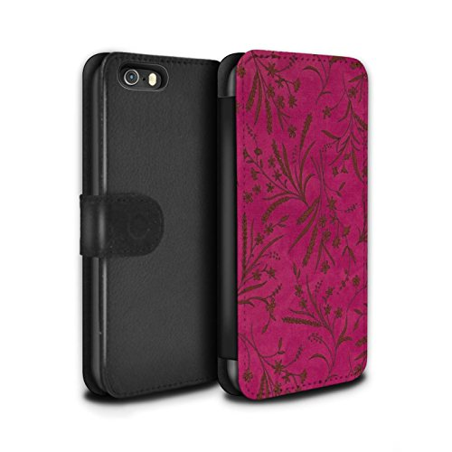 Stuff4 Coque/Etui/Housse Cuir PU Case/Cover pour Apple iPhone 5/5S / Rouge/Vert Design / Motif floral blé Collection Rose/Orange