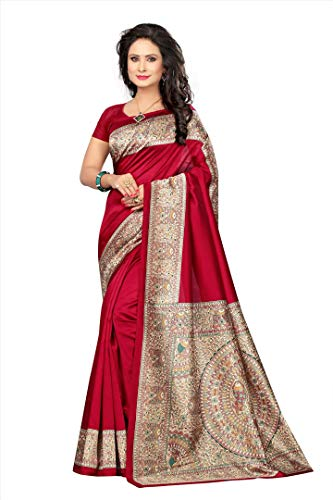 Indian Bollywood Wedding Saree indisch Ethnic Hochzeit Sari New Kleid Damen Casual Tuch Birthday Crop top mädchen Cotton Silk Women Plain Traditional Party wear Readymade Kostüm (Red) (Red Indian Womens Kostüm)