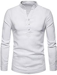 ZIYOU Herren Langarm Hemd Poloshirt, Herbst Winter Leinen Polohemd Pullover/Casual Slim fit Polo T-Shirt Tops