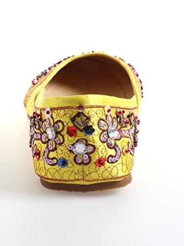 Buffalo coloré Ballerine Cuir Paillettes Chaussures pour Femme Fille 4605-96 Jaune