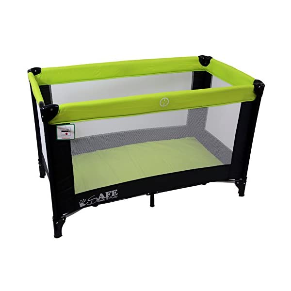 iSafe Rest & Play Luxury Travel Cot/Playpen - Lime (Black/Lime) 120 cm x 60 cm Rest & Play Luxury Travel Cot / Playpen Four Mesh Side Panels Allow Ventilation & Easy Viewing Of Your Little One Complete With Handy Carry Bag Complete With Shoulder Handle Straps Or Carry Handle 4