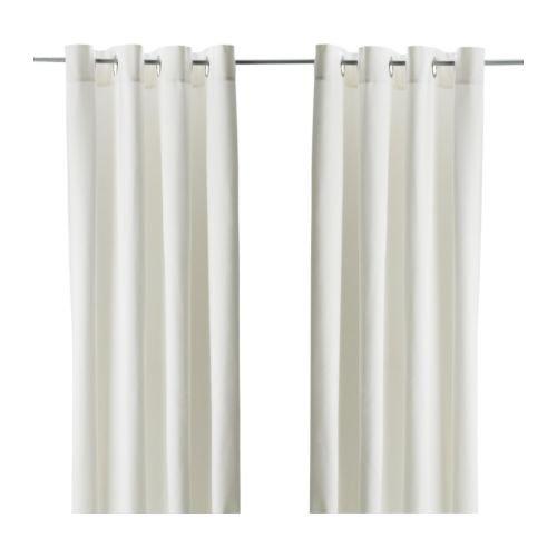 """IKEA Vorhang-Paar \""""MERETE\"""" blickdichte Gardinen aus 100{3e38f88be076cfa0feebded7c72dd8208c8eac8b7dc0b1f4059983562abcfd9a} Baumwolle - schwere Qualität - 145x300cm je Gardine - Farbe: WEISS - mit Ösen in der Oberkante"""