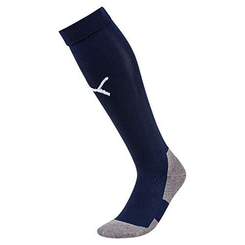 Puma team liga socks core, calzettoni calcio unisex-adulto, blu (peacoat/white), 39-42 (talla fabricante: 3)