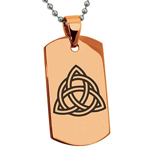 Rose Vergoldet Edelstahl Triquetra Heiliges Dreiheits Symbol Gravierte Hundemarke Anhänger