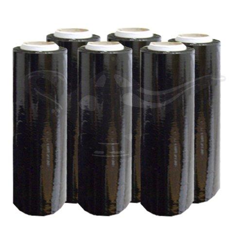 6x GenieWish schwarz blickdicht gegossenen Schrumpffolie für Paletten Film Rolle, 500mm x 250m, 23Mu