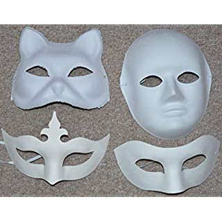 ASCRAFTS Hongbe 4x Mix Assorted Pack Plain Blank Face Masks to Decorate & Paint ( Cat, Half Face, Crown & Full Face )
