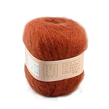 Celine Lin One Skein Soft&warm Angola Mohair Cashmere Wool Knitting Yarn 50g,deep Orange 0