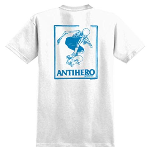 ANTIHERO SKATEBOARDS Anti Hero Skateboard T-Shirt Lance DAAN White/Blue Original aus Ollie Trick Shop, Weiß L (Anti Skateboard)