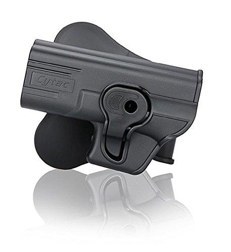 Cytac Linke Hand Hartschalen Glock 17,19, 23, 32, für Gen 1,2,3,4,5 Paddle mit Silicon-Schicht, Neigungswinkel 360° Verstellbar aus Kunststoff Linkshänder -