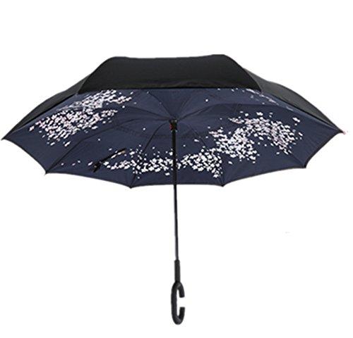 Reversion Regenschirm, Winddichtes Regenschirm umge Folding Double Layer Sunblock Umwelt Bumbershoot Double Layer Inside-Out Umgekehrte Umbrella (NO5)