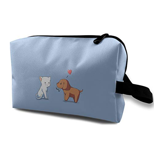 MGTXL Travel Cosmetic Bag Animals Love White Cat Brown Dog Gift Large Capacity Lazy Cosmetic Bag