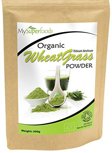 Bio Weizengras Pulver (500 Gramm) | MySuperFoods | Zertifiziertes Bio | Quelle für Vitamin E, Kalzium, Eisen, Zink, Ballaststoffe Leistungsstarke Antioxidans | Hochwertigstes Pulver erhältlich