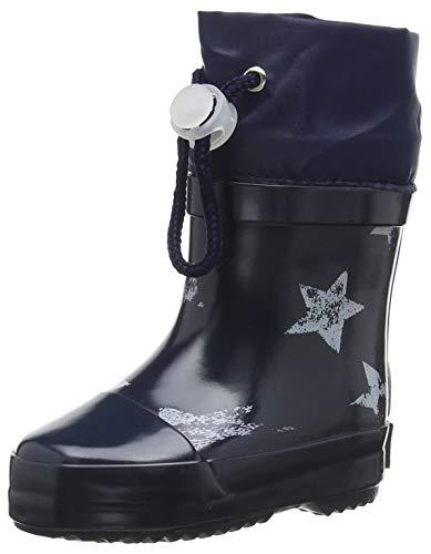 Playshoes Unisex-Kinder Short Wellies Warm Lining Stars Gummistiefel, Blau (Marine 11), 19 EU