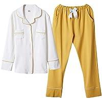 DUKUNKUN Suelta Pijiama Mujer Algodón De Manga Larga Pantalones Elásticos Cintura Homewear Pijamas-S