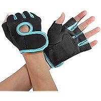 Sonline NUEVO Deporte Ciclismo Fitness Gym medios guantes del dedo entrenamiento con ejercicios de pesas - Negro con borde azul S