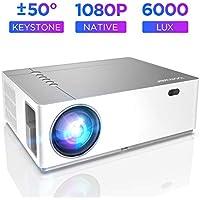 Proiettore BOMAKER 6000 Lumen Nativo Full HD 1080p videoproiettore, ± 50° Correzione trapezoidale Zoom, 300'' Display supporta 4K/2 USB /2 HDMI/SD/AV/VGA per presentazioni commerciali e Home cinema