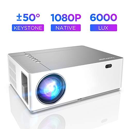 Beamer 6000 Lumen Full HD Native 1080p BOMAKER LED Videoprojektor 300 inch Display Zoom ±50°Elektronische Korrektur Dolby unterstützt mit Dual HDMI USB Anschlüsse für Heimkino&Geschäftspräsentation