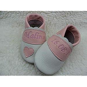 Annes-Lederpuschen Krabbelschuhe mit Namen Taufschuhe Babyschuhe personalisiert Lederpuschen Mädchen Geburtsgeschenk…