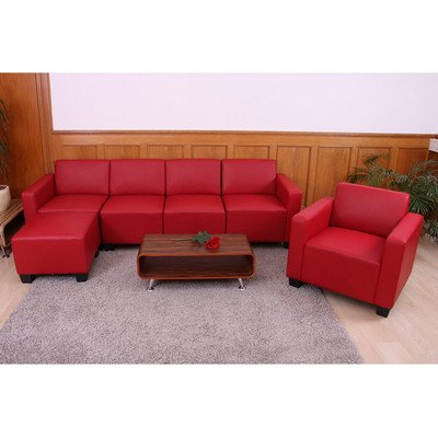 Modular Sofa-System Couch-Garnitur Lyon 3-1-1-1, Kunstleder ~ rot