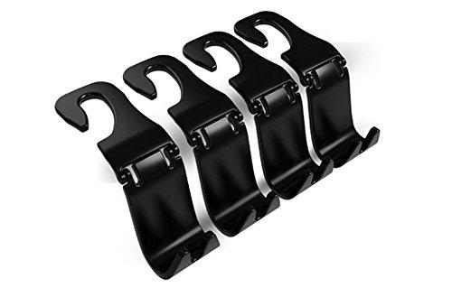 4pcs Auto Lagerung Haken,Rücksitz Kopfstütze Haken - Mantel Geldbörse Handtasche Halter(Schwarz falten Satz von 4) Mayco Bell
