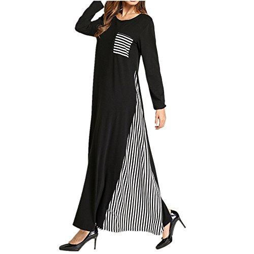 che Frau Lose Maxi-Kleid, Runde Hals Langarm-Abaya Islamische Kleidung, Stilvolle Gestreifte Kaftan Kleid,Schwarz,L (Typ Kostüm Kaftan)