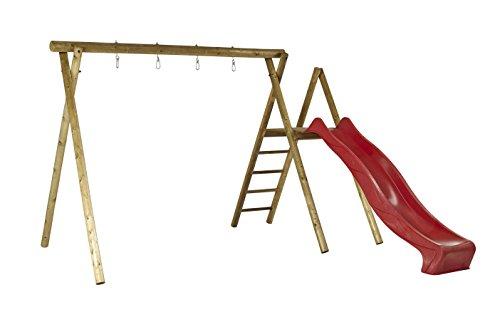 Woodinis-Spielplatz® 18516-5-4 Doppelschaukel, Schaukelgestell, Schaukelgerüst, Rot