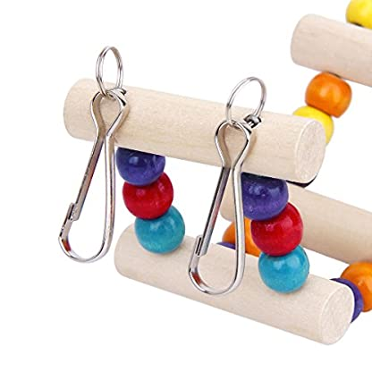 Wooden Bridge Ladder Cage Toy with Hooks for Parrot Bird 6*39 cm 5