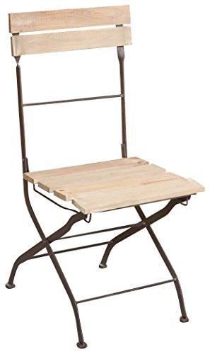 Sedia richiudibile in ferro e legno finitura anticata L40xPR52xH90 cm
