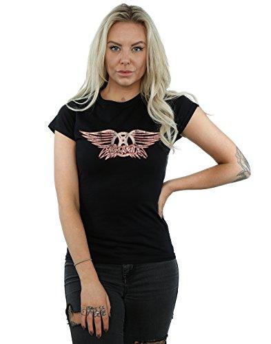 Aerosmith Damen Wing Logo T-Shirt Small Schwarz (Damen T-shirt Aerosmith)