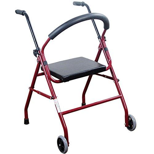 Andador de acero inoxidable rojo Walker plegable con ruedas (2ruedas–Andador (con asiento