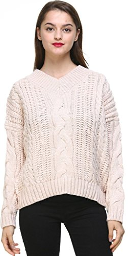 Vogueearth Femme's Longue Manche Twist Knit V-Neck Short Pullover Sweater Chandail Tricots Beige