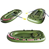 Tradico 94.4''x53.9'' 3-Person PVC Rubber Green Kayak Inflatable Boat with Air Pump Oars
