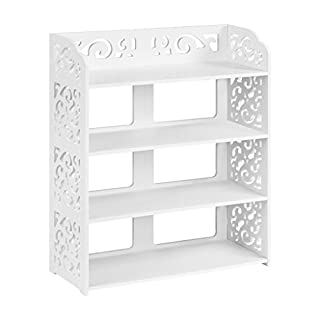 Finether 4-Tier Modular Cut-Out Wood Plastic Composite Shelf Unit Storage Organiser Shelf Bookcase Display Rack SGS Certified