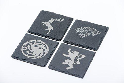 Juego de Tronos inspirado Stark Targaryen de la Lannister Baratheon posavasos de pizarra conjunto de 4