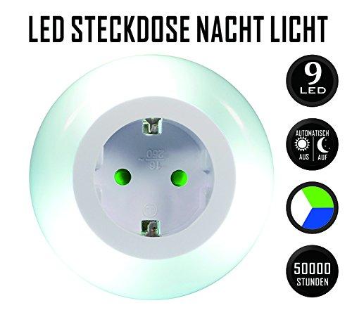 Emotionlite LED Steckdose Nachtlicht mit Dämmerungssensor Nachtlampe Kinder Schützen Steckdose Orientierungslicht Mehrfarbig (Grün, Blau, Warmweiß) Helligkeitssensor 3680W 16A
