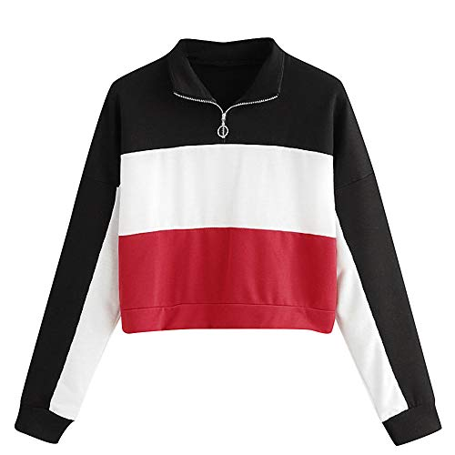 Frauen Patchwork Sweatshirt MYMYG Langarm Bluse mit Kapuze Pullover Tops Shirt Kapuzenpullover Tunnelzug Hoodie Mädchen Bluse(rot,EU:36/CN-M)