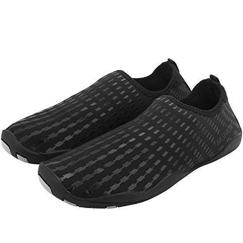 Tauchschuhe/ Strandschuhe/ Aquaschuhe/ Surfschuhe Schnelltrockn für Herren und Damen (EU42-42.5, Schwarz)