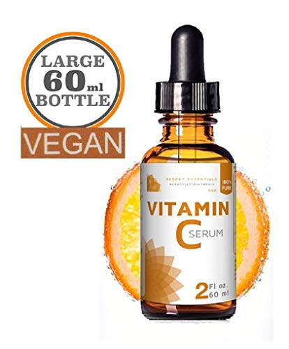 Gel Vitamin C Vitamine (100% Vitamin C Serum - Gross 60 ml 100% Organisch, Vegan | Reine Aloe Vera, MSM, Jojoba Oil, Vitamin E, Hyaluron | Gesichtsreinigung, Anti Aging Serum | Premium Qualität von Secret Essentials)