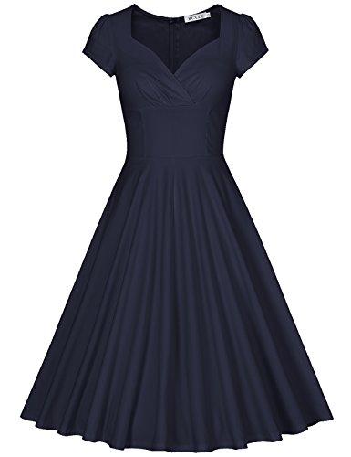 MUXXN 1950s Damen Retro Partykleider Elegant Vintage Swing Kleid(M, Deep Blue) (Deep Blue Spandex)
