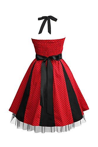 Black Butterfly 'Ivy' 50's Polka-Dots Swingkleid Rot - Kleine Schwarze Punkte