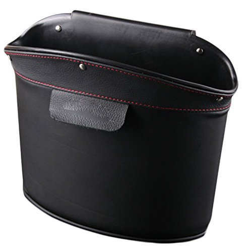 Chytaii KFZ Aufbewahrungsbox Mülleimer Premium Leder Auto Cubby Box Abfall für Lagerung Organizer (Schwarz)